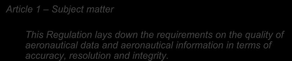 requirements on the quality of aeronautical data and