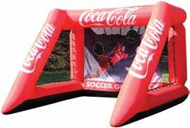INFLATABLE SOCCER GOALS Perfect for outdoor race events Eco friendly fabrics with non-toxic water based inks Custom woven 100% polyester (230gm²) with reinforced pvc base Coated fabric for durability