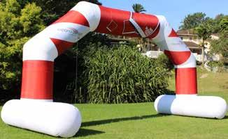 STAND ALONE ARCH Perfect for outdoor race events offering more stability during windy conditions Eco friendly fabrics with non-toxic water based inks Custom woven 100% polyester (230gm²) with