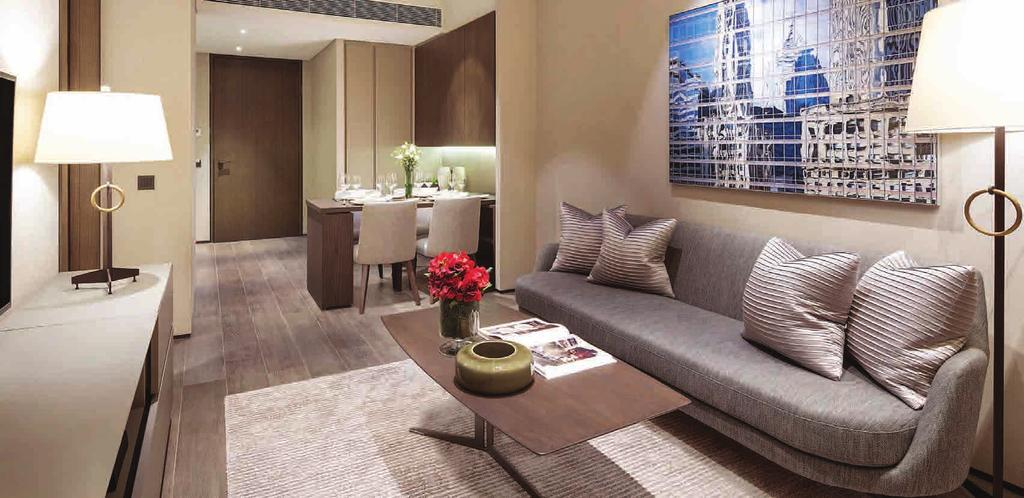 ONE-BEDROOM APARTMENT Living Room Ranging from 30 to 58 square meters, the luxuriously furnished one-bedroom apartments offer superior comfort