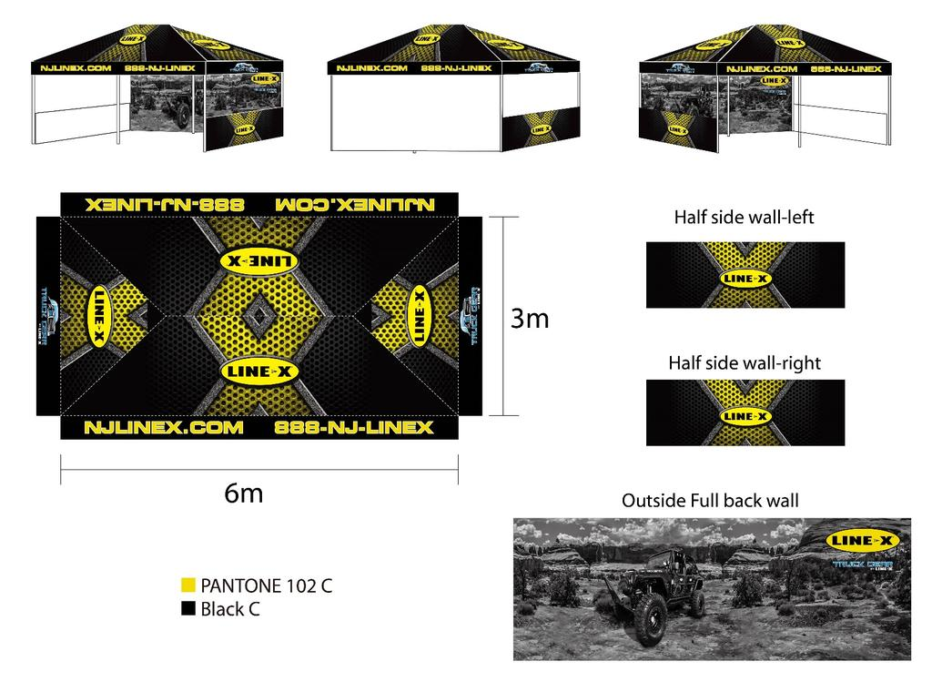 Tents are fully dye sublimated, what does that mean for you? You can FULLY customize each part of the tent.