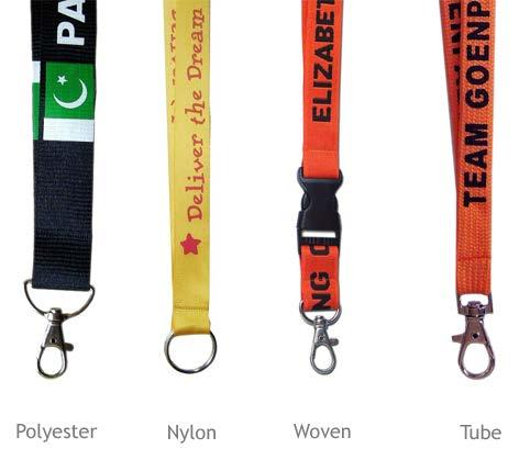 Lanyard Materials Polyester is the perfect combination of low cost and high quality. Nylon printed lanyards are tough, but very smooth. Woven lanyards start as a regular polyester lanyard.