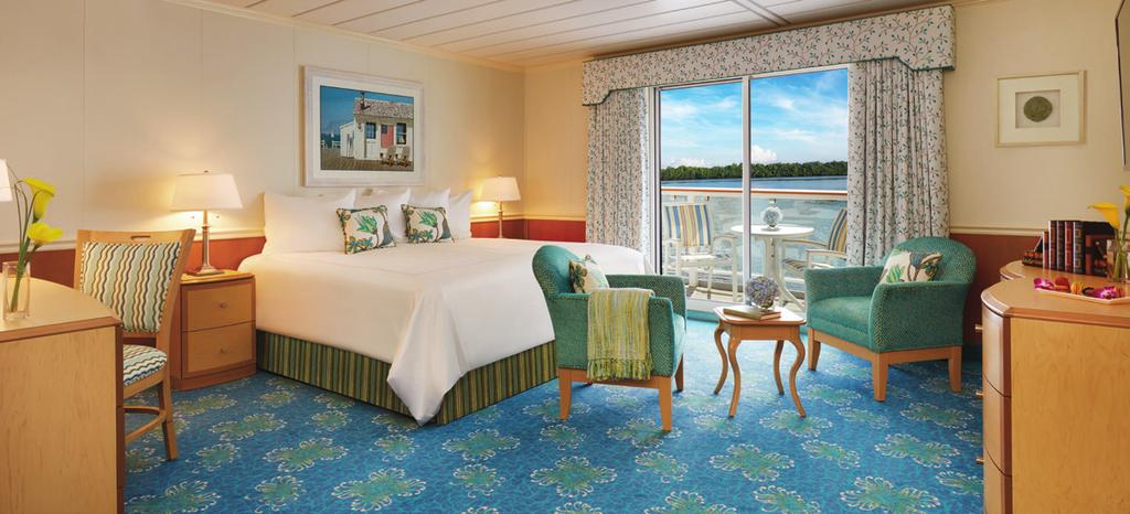 With interior entrances, staterooms offer maximum privacy and provide guests unobstructed views through floor-to-ceiling, sliding-glass balcony doors.