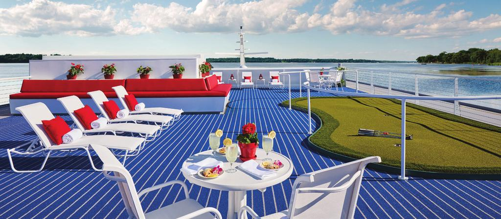 Ship Amenities SHIPS BUILT IN THE USA ALL - AMERICAN CREW THE NEWEST MOST ENVIRONMENTALLY FRIENDLY FLEET OF SHIPS PASSENGER LOUNGES WITH PANORAMIC VIEWS ON EVERY DECK PUTTING GREEN ON THE TOP DECK
