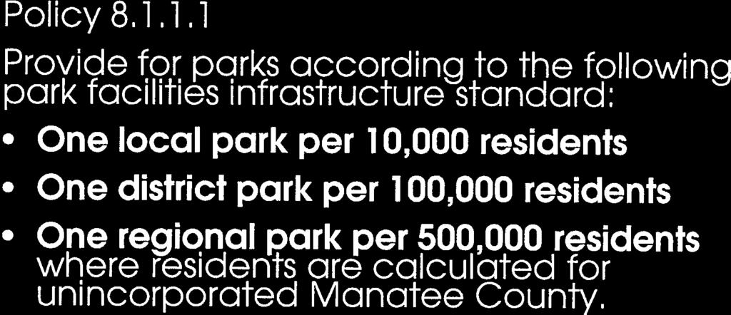 1.1 Provide for parks according to the following park facilities infrastructure