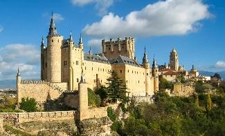 Segovia is famous for its well-preserved aqueduct from Roman times and its fortress, the Alcazar.