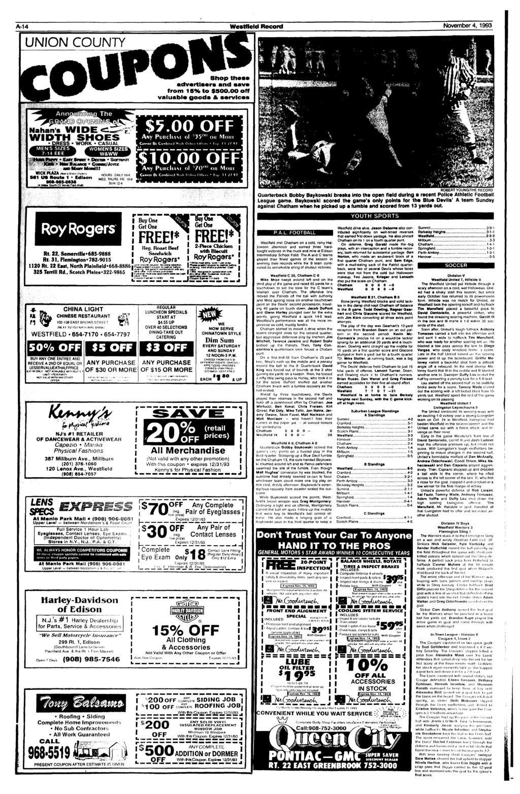 A-14 Westfleld Record November 4, 1993 UNION COUNTY Shop thest) advertisers and save from 15% to $500.00 off valuable goods & services Nahan's WIDE WIDTH SHOES $5.