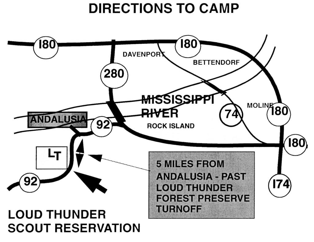 RESOURCES LOUD THUNDER SCOUT RESERVATION West of Andalusia, Illinois 309-795-1442 ADDITIONAL DIRECTIONS From the North or East, pass through Andalusia, stay on Highway 92 with the Slough (river) on
