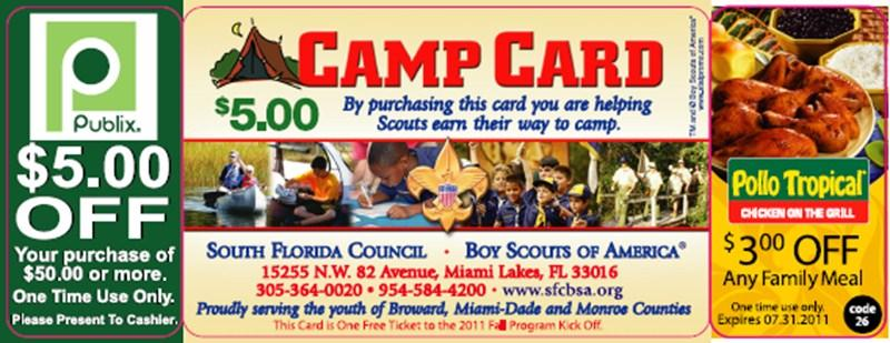 The intent of the Camp Card sale is to allow Scout units to raise funds to pay for their Summer Scouting Program.