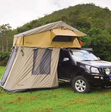 TJM ANNEXE Made from the same durable material as the roof top tent, the TJM annexe makes a welcome addition to any camping adventure and is available for both varieties of TJM roof top tents.