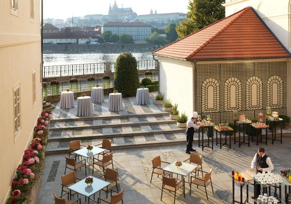 Rich in Baroque architecture, our Vltava Ballroom features an arched ceiling and river views.
