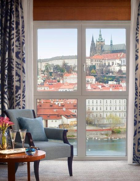 Select rooms feature handpainted ceilings and views of the Charles Bridge and Prague