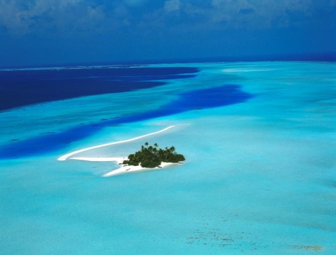 Aerial Rihiveli Sunrise Island - Image Courtesy of Asia Pacific Superyachts Maldives The flat islands are formed from coral layers, the highest point rarely being more than 6 above sea level.
