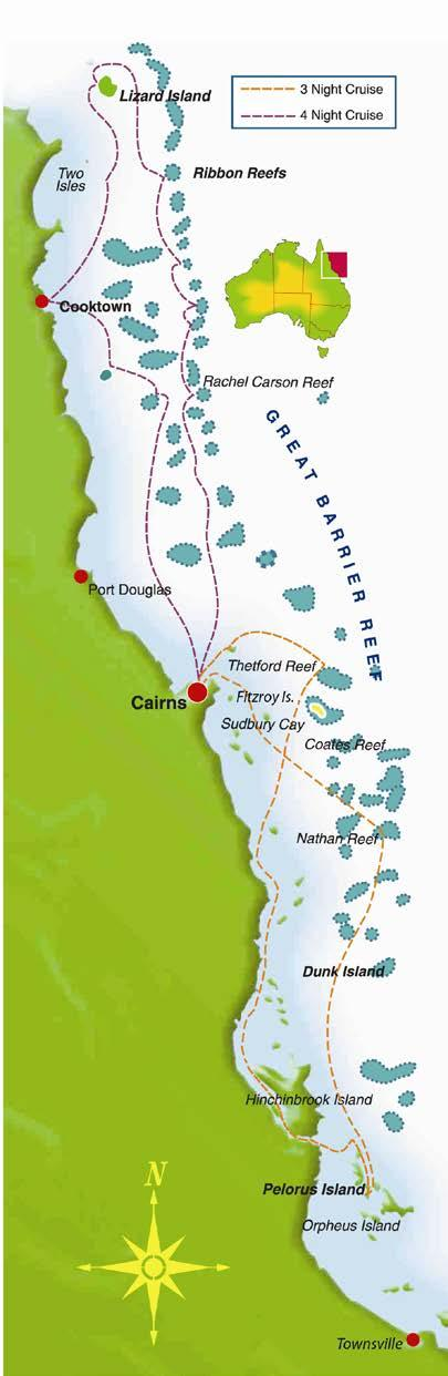 7 Night Great Barrier Reef Cruise - Tour Code CC7N Cairns Lizard Island Pelorus Island - Cairns Day 1: Cairns 4:00pm: Board your Coral Princess Cruises small ship for a 5:00pm departure from Cairns.
