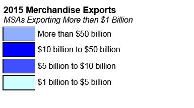 U.S. Metro Area Exports in 2015 In 2015, merchandise trade exports to the world from the 388 U.S. Metropolitan Statistical Areas (MSAs) totaled $1.