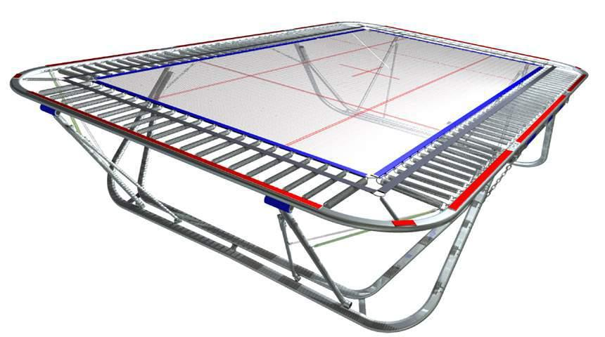 3. Assembly instructions for coverall frame pads Set up the trampoline. Hook in springs, black belt and jumping bed.