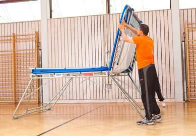 If your trampoline is equipped with the new lifting roller stands Safe & Comfort, you can easily lower it by pushing