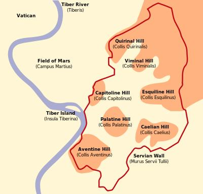 The Founding Of Rome Location & Geography 7 Hills Rome was built on a group of 7 hills along the Tiber River.