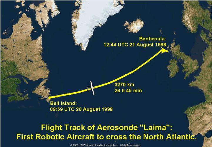 UAV Early Highlights In 1998, a partly Australian developed Aerosonde UAV completed an autonomous Atlantic crossing