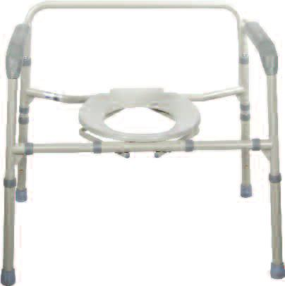 Removable tool free back. Comes complete with 12 qt. commode bucket with carry handle, cover and splash shield.