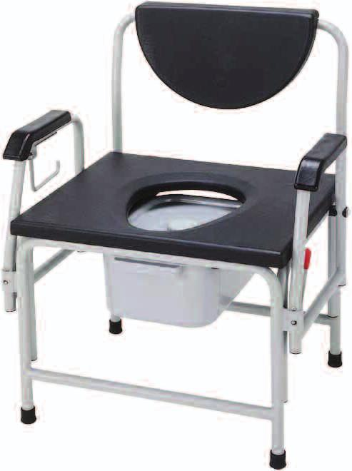 "14 850 LB Large Bariatric Drop Arm Commode 11138-1 Assembled, 1/cs 11138B Replacement Back Rest, 1/ea 11138SEAT Replacement Seat, 1/ea 10374BK-8 Replacement Tip, 1"" Black, (Has replaced 11100B),"
