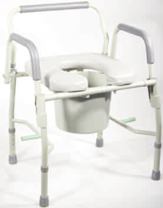 Plastic armrests and back provide extra comfort and support. Comes with 12 qt. commode bucket with carry handle and splash shield. K.