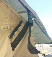 (Fig J) Slide base of rod through grommet and into base of tent, make sure rod is