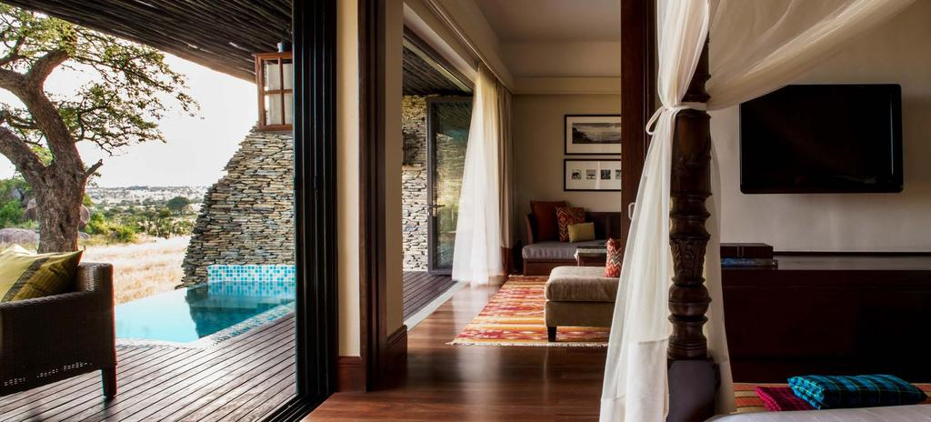 All with private, open-air viewing decks, our 77 guest rooms, suites and villas blend authentic African