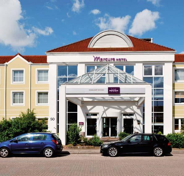 Special offer: overnight accommodation Mercure Hotel Düsseldorf Ratingen The 3-star Superior Mercure Hotel Düsseldorf Ratingen is located close to the city of Düsseldorf. All 118 rooms have free WIFI.
