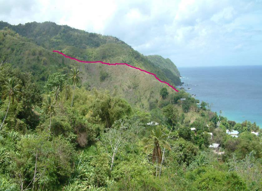 The site is on elevated undeveloped land above Castara Village. The elevated site forms one of the last ridges emerging from the rainforest falling to Castara Bay.