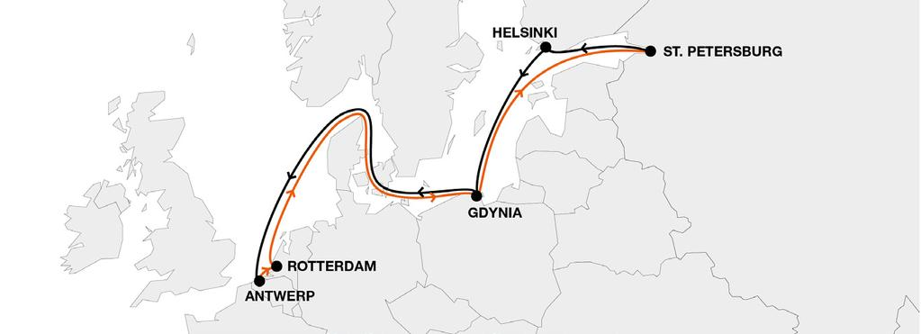 Baltic Short Sea NBS North Sea Baltic Service Key Service Strengths Own weekly direct service Connectivity to HL global network via hubs Serving both hubs Antwerp and Rotterdam Transit times