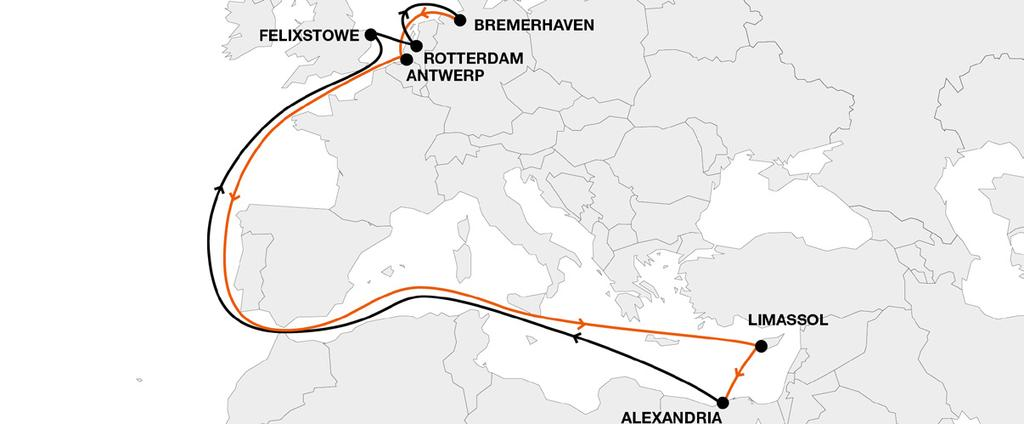 North Europe Mediterranean ALX Alexandria Express Key Service Strengths 1) Weekly direct service