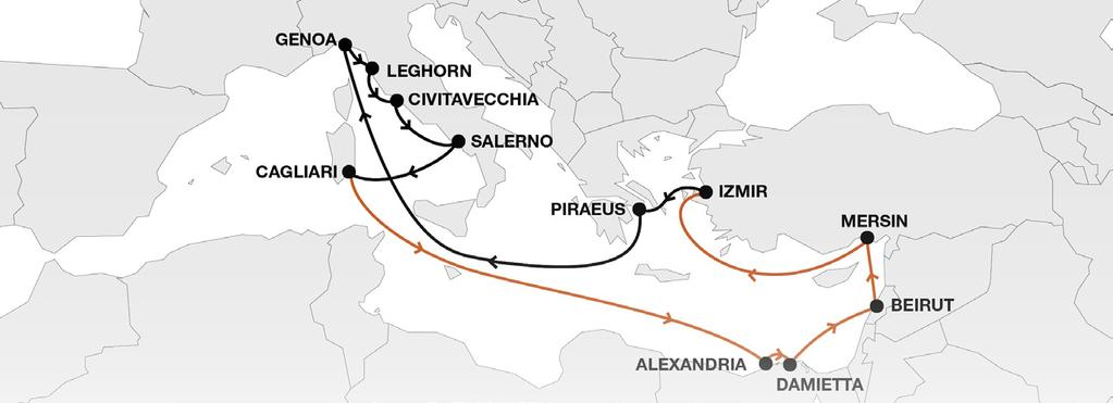 Mediterranean Short Sea LEX Levante Express Key Service Strengths Weekly direct service Connectivity to HL global network via Egypt and Piraeus especially dedicated to Eastern