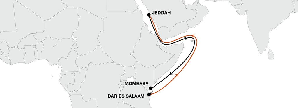 East Africa Middle East EAS East Africa Service Key Service Strengths New service as of April 2018 Weekly direct service between Middle East and East Africa Global connectivity to Hapag-Lloyd s