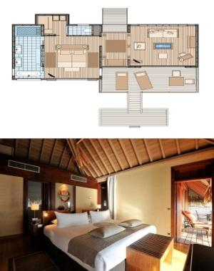 Bed Configuration: 1 king bed + 1 sofa bed More Info: Interior of Bungalow 37m² + Terrace 16.