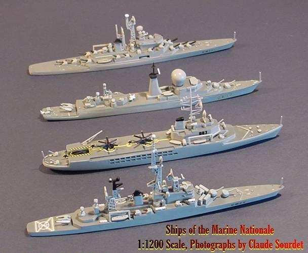 Heller et al To complete this brief 1/1200 plastic model survey, mention must also be made of the full hulled kits of modern French warships Jeanne d Arc, Colbert and Suffren (nearly 1/1200) from