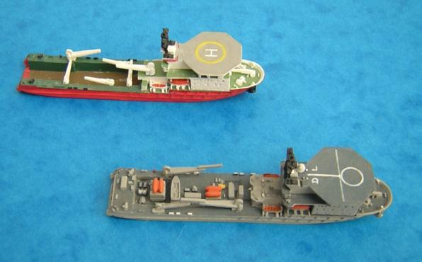 Also released were various RN warships of the 1950s/60s as follows: HMSs Salisbury (Type 61), Leopard (Type 41), Hardy (Type 14), Rocket (Type 15), Troubridge (Type 15, mod), Cavalier (mod), and