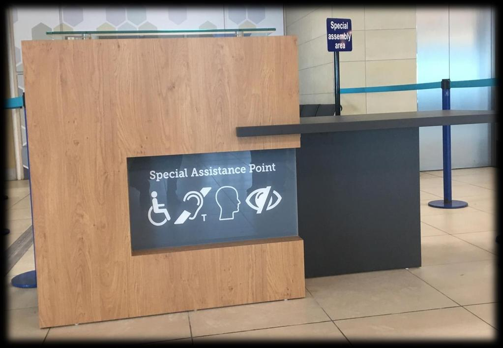 Assistance within the airport We have two designated assistance areas one is located within the main concourse (landside) and the other is in a central location Airside.