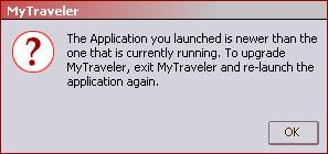 Note: If you have an older version of MyTraveler preinstalled on the computer, MyTraveler will prompt you to upgrade to the current version (Figure 2). 1) Click OK.