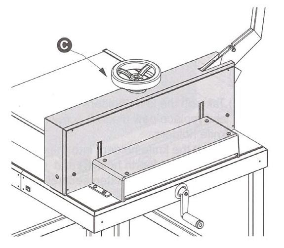 Remove the screws (b & d), replace them with the two knife holders from the tool box and tighten them securely. Remove the knife screws (c & e). 4.