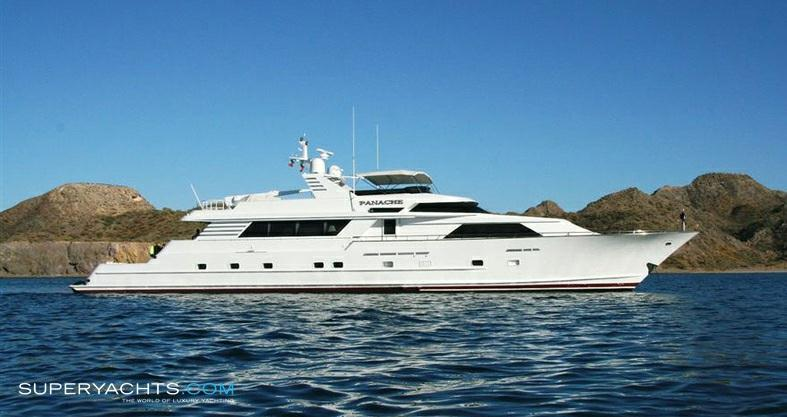 "Panache 33.50m (109'10""ft) Broward Marine 1991 Charter Luxury Motor Yacht Panache Motor yacht Panache is a 33.5m luxury crewed charter yacht originally built by Broward Marine in 1991."