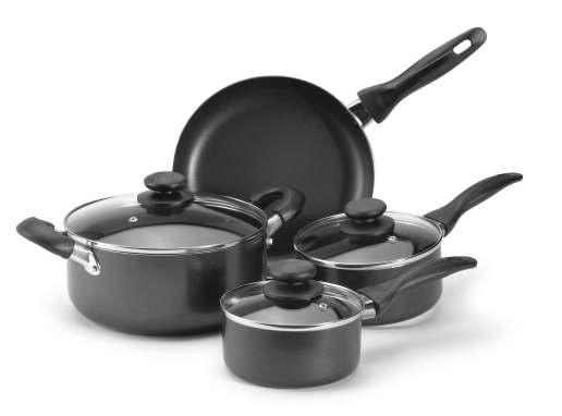 7 pc Home Basics Non-Stick Aluminum Cookware Set T-16618 7 Piece Set 7 PIECE SET INCLUDES 1 Qt. Saucepan with Lid 1.5 Qt. Saucepan with Lid 4 Qt.