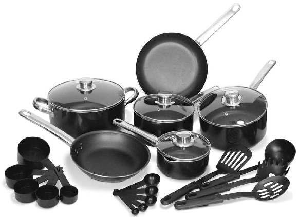 Non-Stick Cookware Ensemble T-16634 24 PIECE SET.