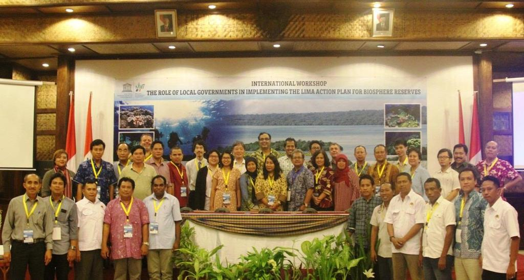 Figure 4. Participants of the International Workshop The Role of Local Governments in Implementing the Lima Action Plan for Biosphere Reserves, Wakatobi BR, 2-4 June 2016.