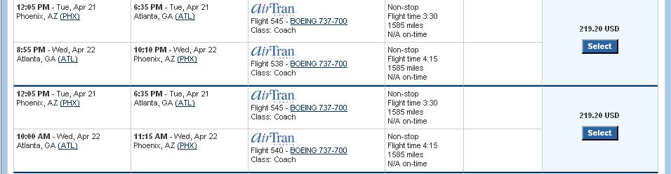 price. Select your preferred flight option.