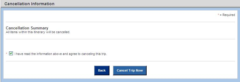 Cancel a Trip To cancel a trip, click on the Cancel Trip button once you have displayed it from Trips.