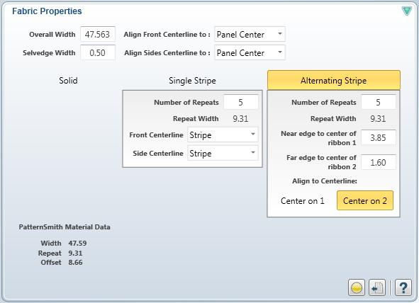 4. Select thr ribbon you want centered in the valance cells by clicking Center on 1