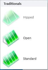 Traditional styles are Open, Standard, and Hipped. (Hipped are not implemented yet.).