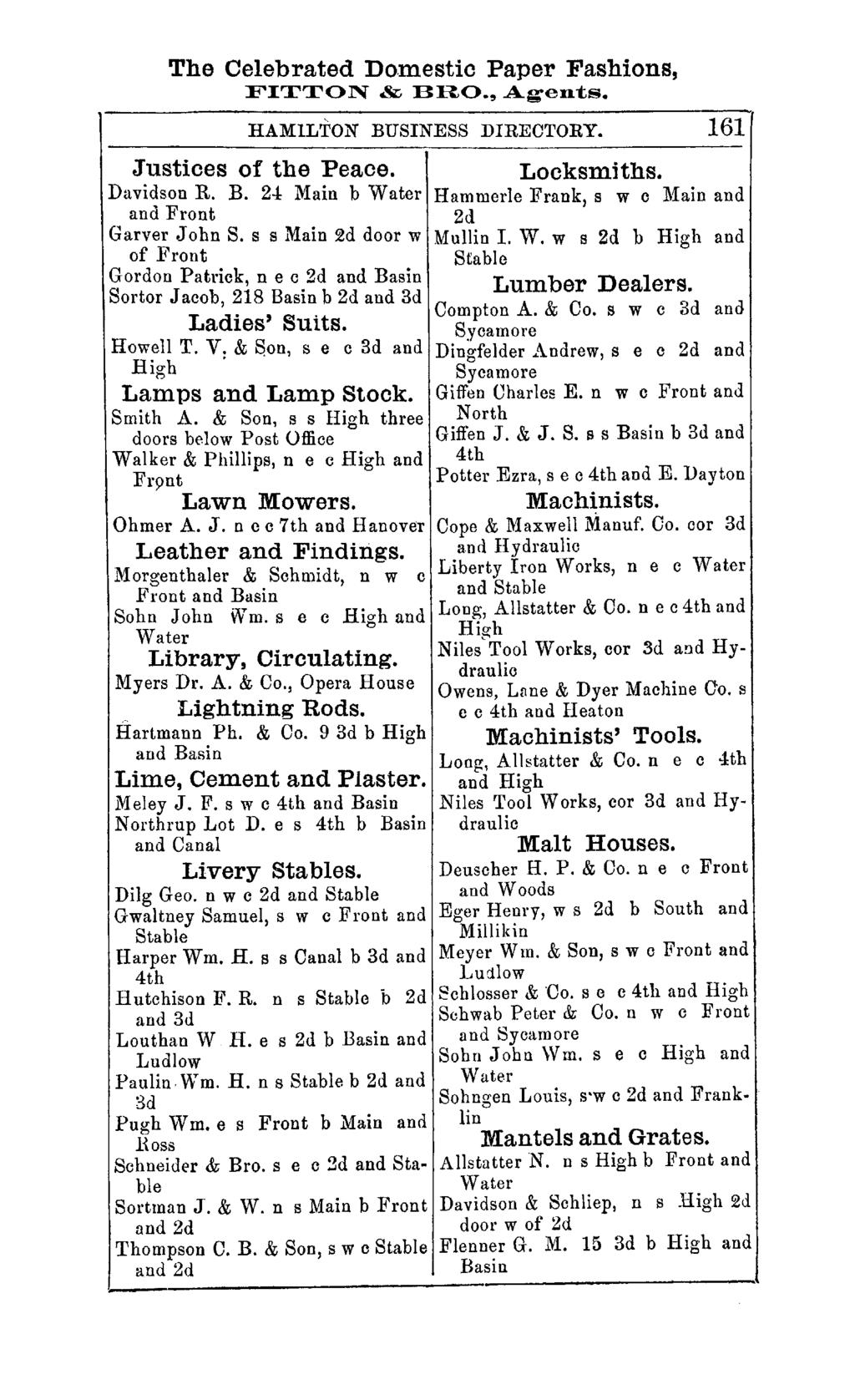 "The Celebrated Do.mestic Paper Fashions, FITTON & BRO., Agen""ts. HAMILTON BUSINESS DIRECTORY. 161 Justices of the Peace. Davidson R. B. 24 Main b Water and Front Garver John S."