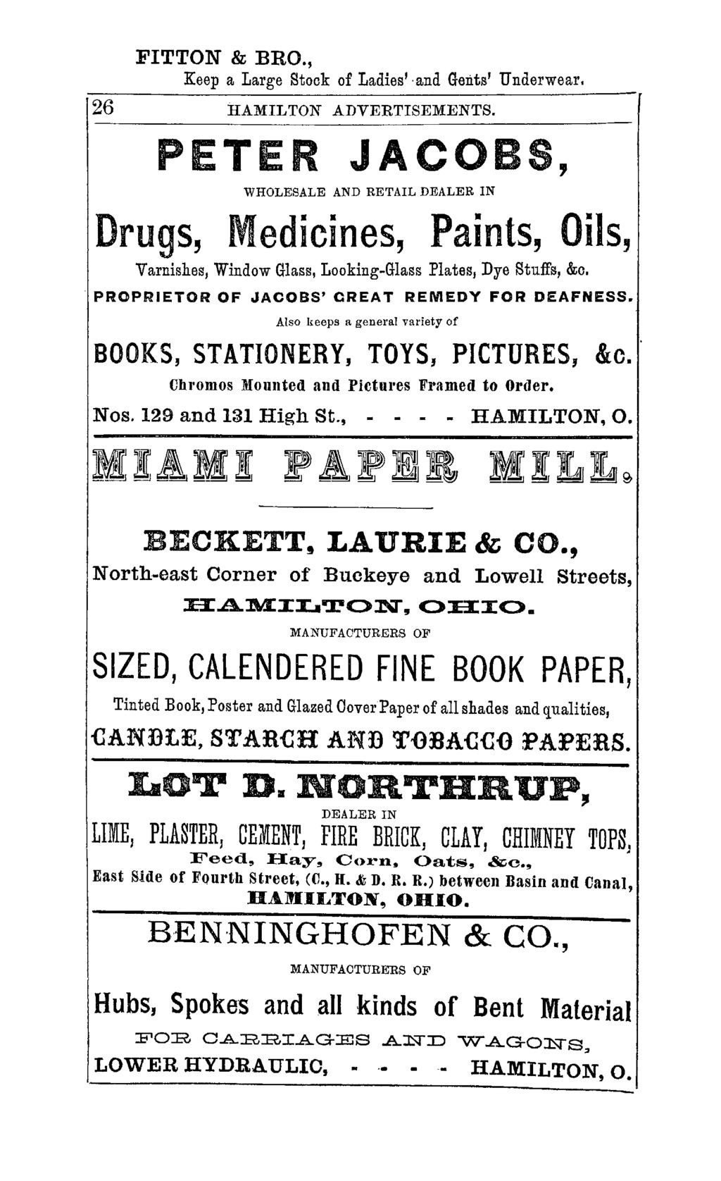 FITTON & BRO., Keep a Large Stock of Ladies' and Gents' Underwear. 26 HAMILTON ADVERTISEMENTS.